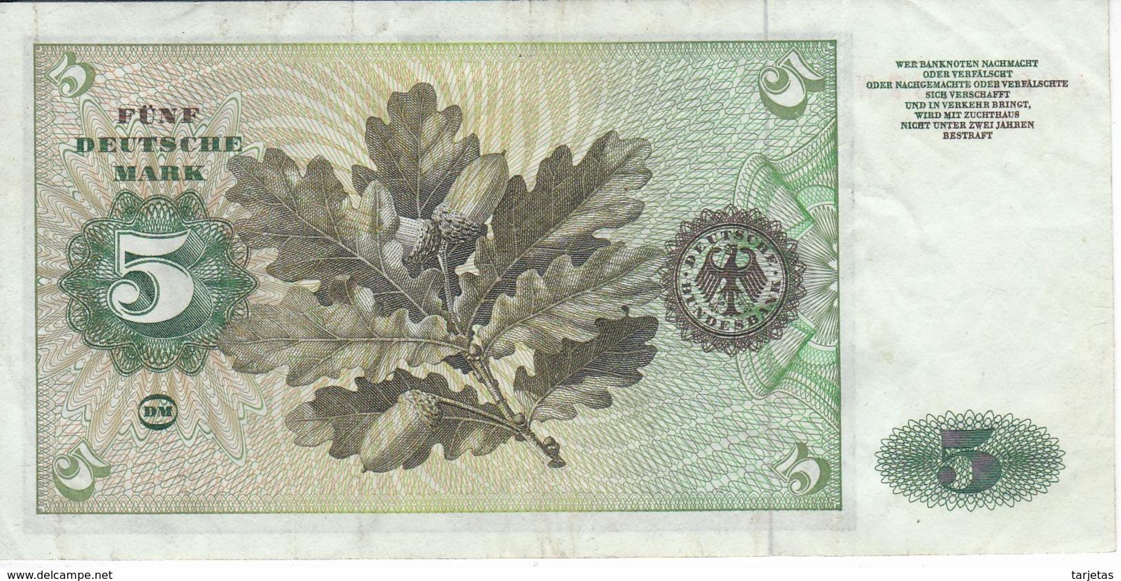 BILLETE DE ALEMANIA DE 5 MARCK DEL AÑO 1960   (BANKNOTE) - [ 7] 1949-… : RFA - Rep. Fed. De Alemania