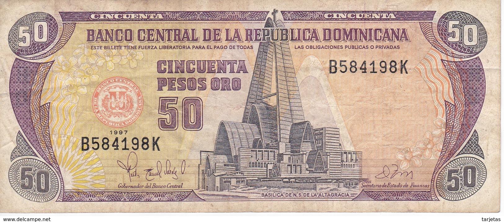 BILLETE DE REP. DOMINICANA DE 50 PESOS ORO DEL AÑO 1997 SERIE B (BANKNOTE) - República Dominicana