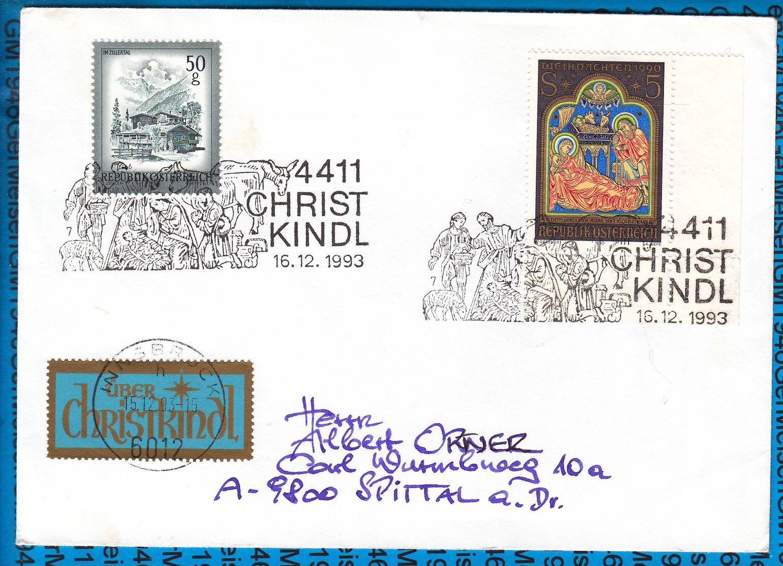 Austria Couvert Cristmas Christkindl 1993 / 02 - Entiers Postaux