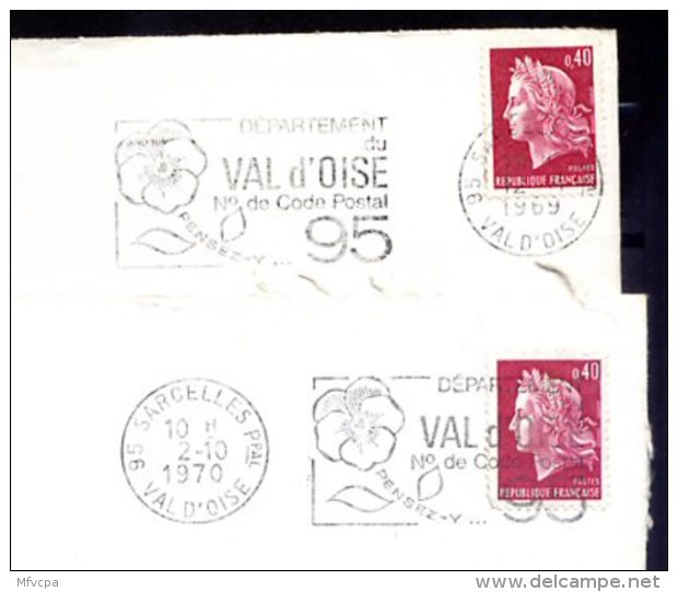 3708 VAL D'OISE  2 Secap  Val D'Oise N° De Code 95 Pensez -y O= =o/ 95 Sarcelles Ppal - Marcophilie (Lettres)