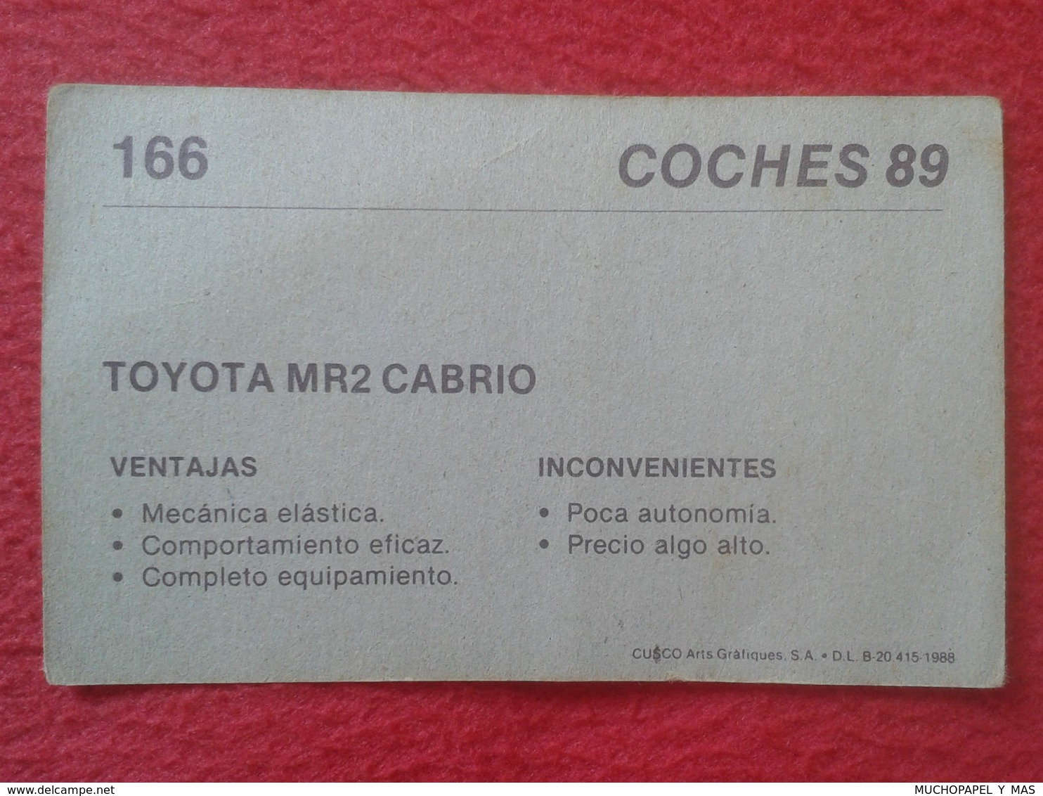 SPAIN ESPAGNE. ANTIGUO OLD CROMO ESTAMPA 1988 COCHES 89 COCHE CAR CARS AUTO AUTOMÓVIL TOYOTA MR 2 CABRIO JAPAN NIPPON - Cromos