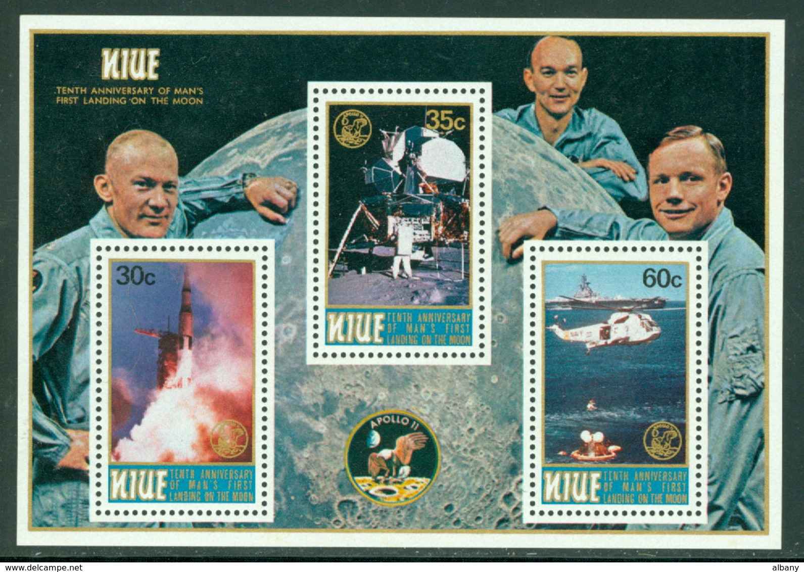 Niue Apollo 11 Landing On The Moon, 10th Anniversary Neuf** Sans Charniere, Mint NH - Niue