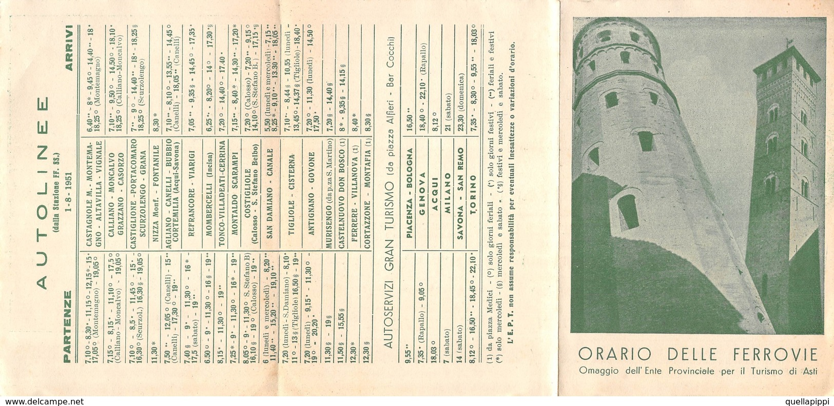 "08091 ""ASTI - ORARIO DELLE FERROVIE 1951"" ENTE PROV. TURISMO - ORIGINALE - Europe"