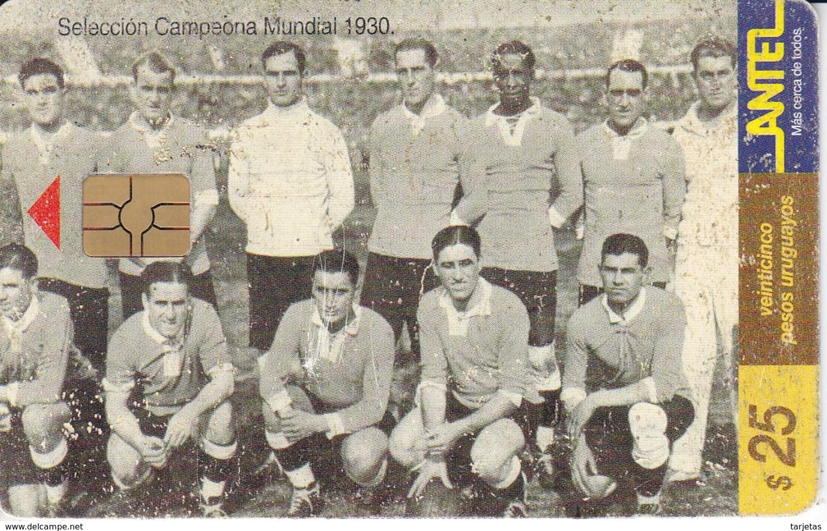 Nº 64 TARJETA DE URUGUAY DE SELECCION CAMPEONA DEL MUNDIAL DEL AÑO 1930  (CHIP ROJO) (FUTBOL-FOOTBALL) - Uruguay