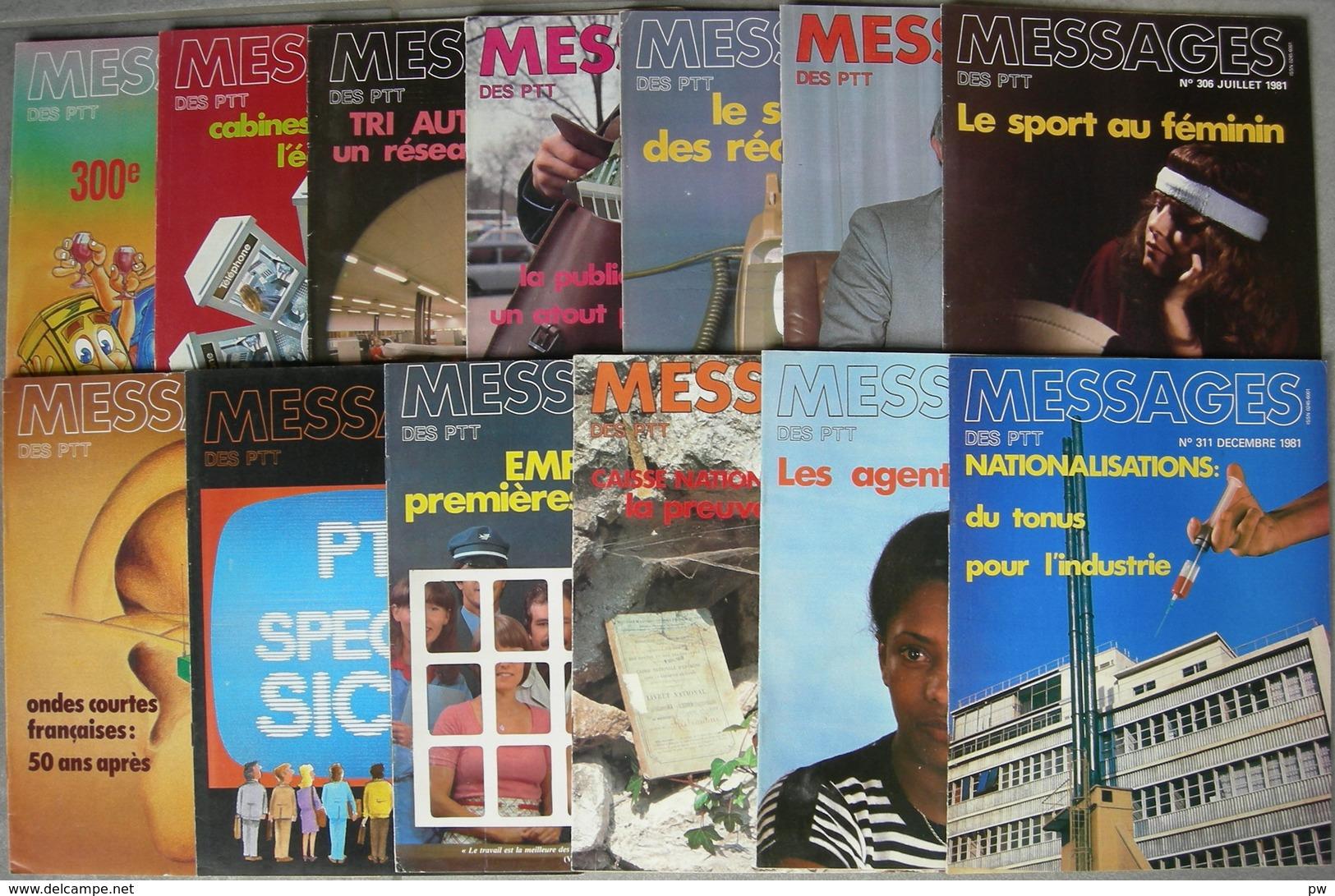 REVUE MESSAGES DES PTT Année 1981 Complète N° 300 à 311 + N° Spécial SICOB - Magazines