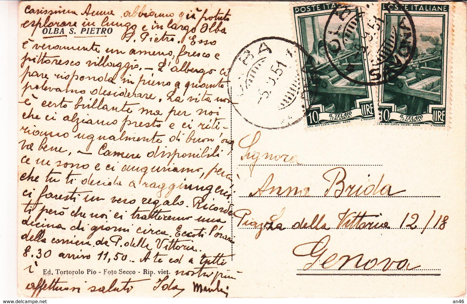Olba S.Pietro-Sv-Luci Del Mattino-Vg Il 05.09.1951-Originale100%an - Genova (Genoa)