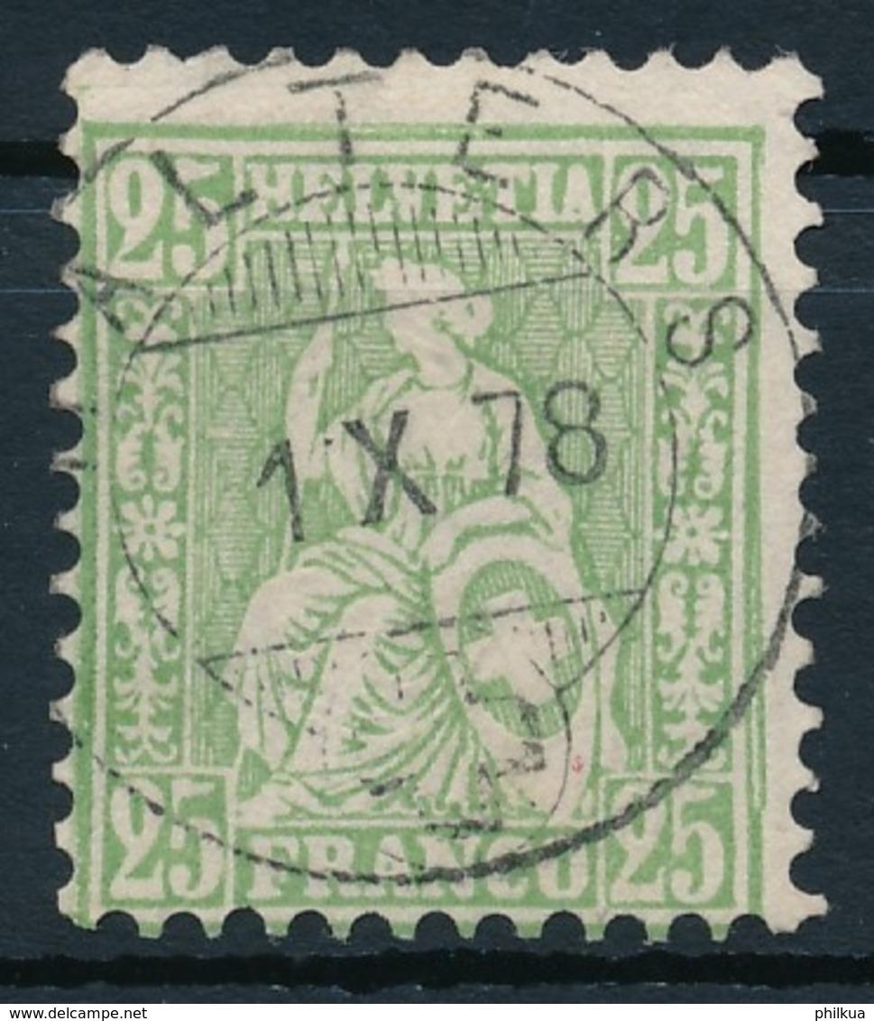 40 / 32 Sitzende Helvetia Sauber Gestempelt - Vollstempel MALTERS - 1862-1881 Helvetia Assise (dentelés)