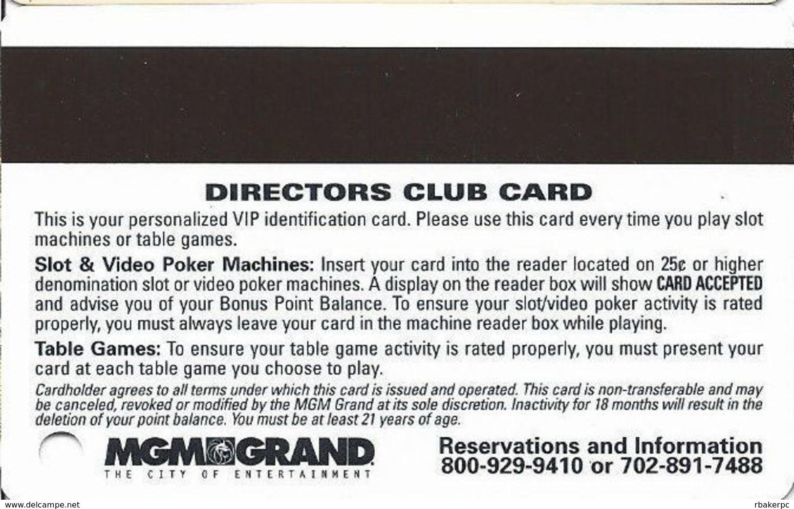 MGM Grand Casino - Las Vegas, NV - Slot Card - Casino Cards