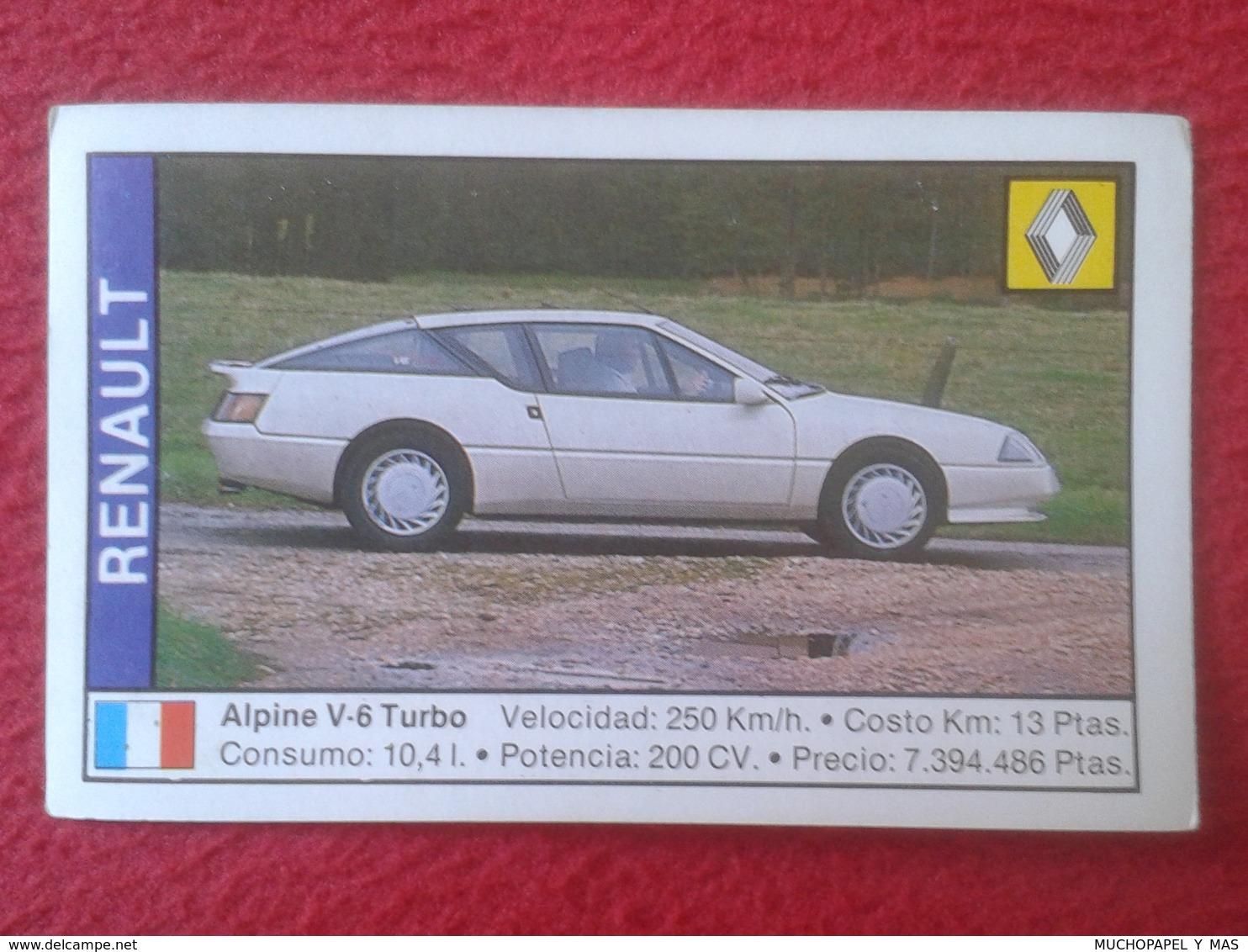 SPAIN ESPAGNE. ANTIGUO OLD CROMO ESTAMPA 1988 COCHES 89 COCHE CAR CARS AUTO AUTOMÓVIL RENAULT ALPINE V-6 TURBO FRANCIA - Cromos