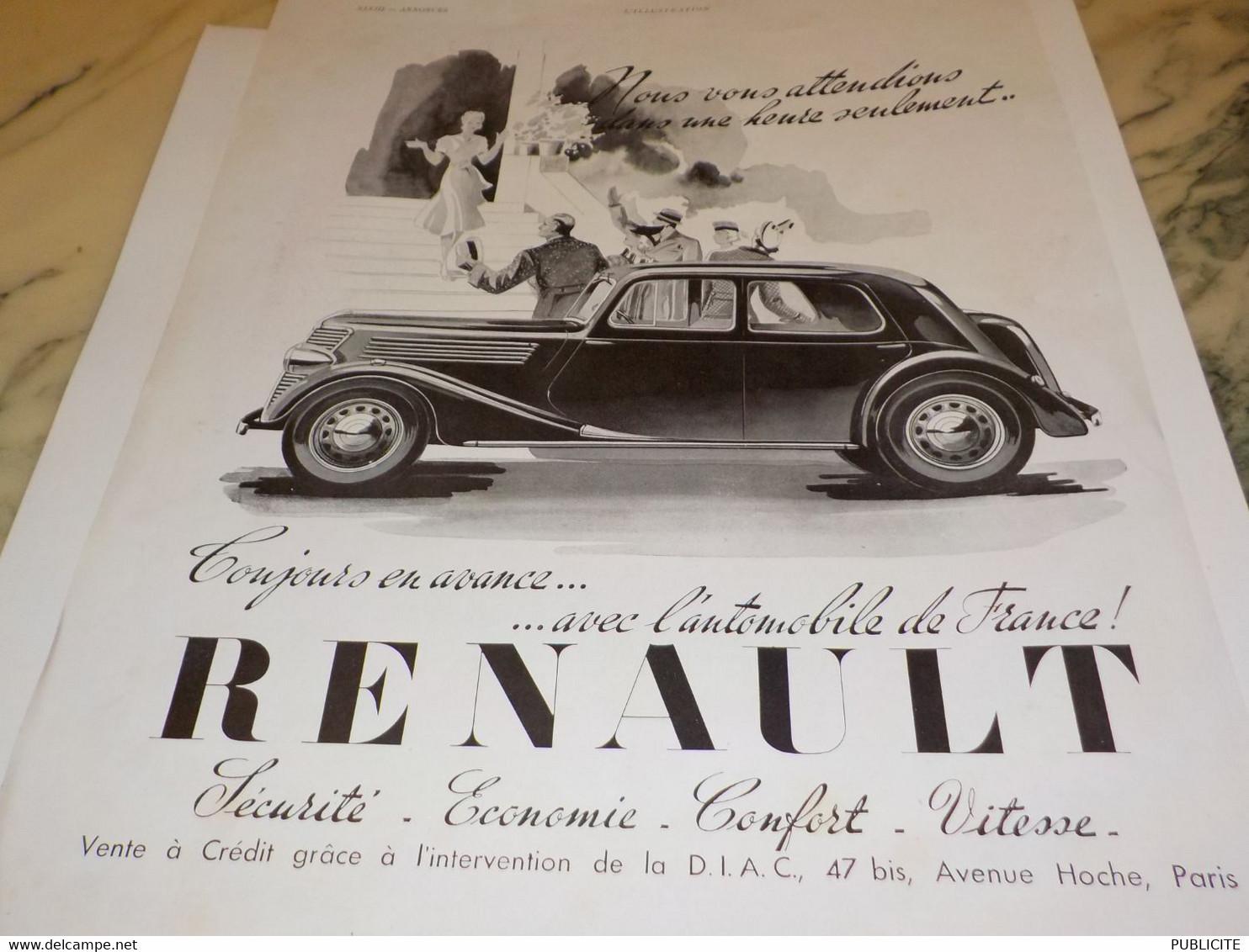 ANCIENNE PUBLICITE VOITURE   RENAULT TOUJOURS EN AVANCE 1939 - Camions
