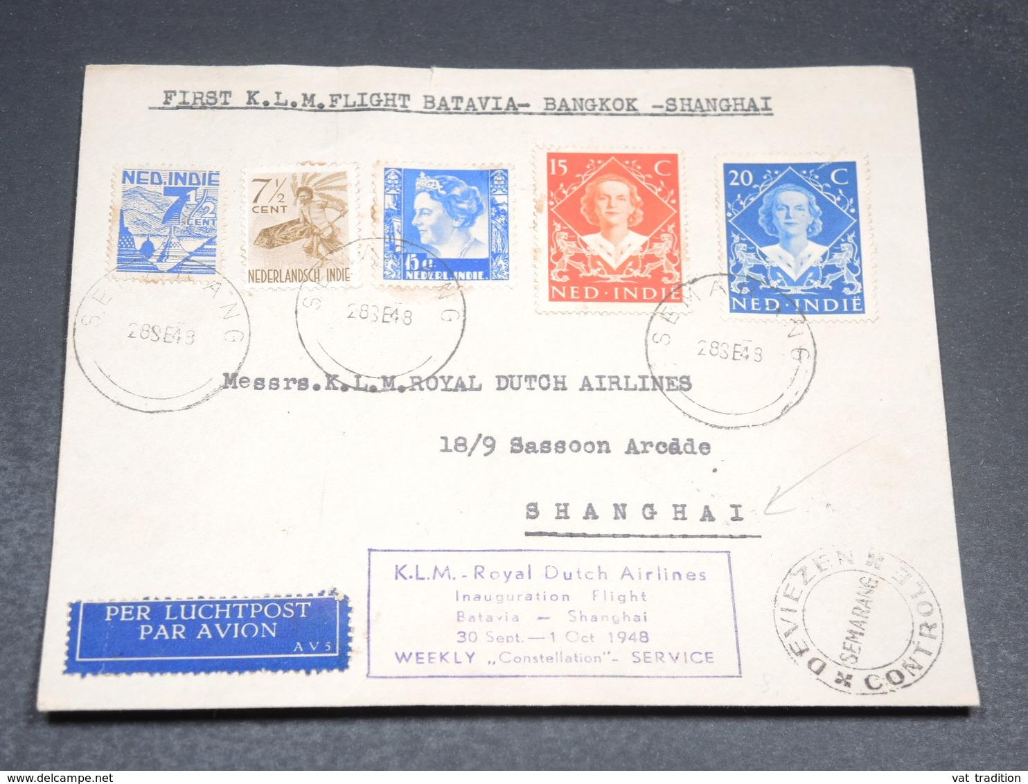 INDES NÉERLANDAISES - Enveloppe 1er Vol Batavia / Shanghai En 1948 - L 19900 - Indes Néerlandaises