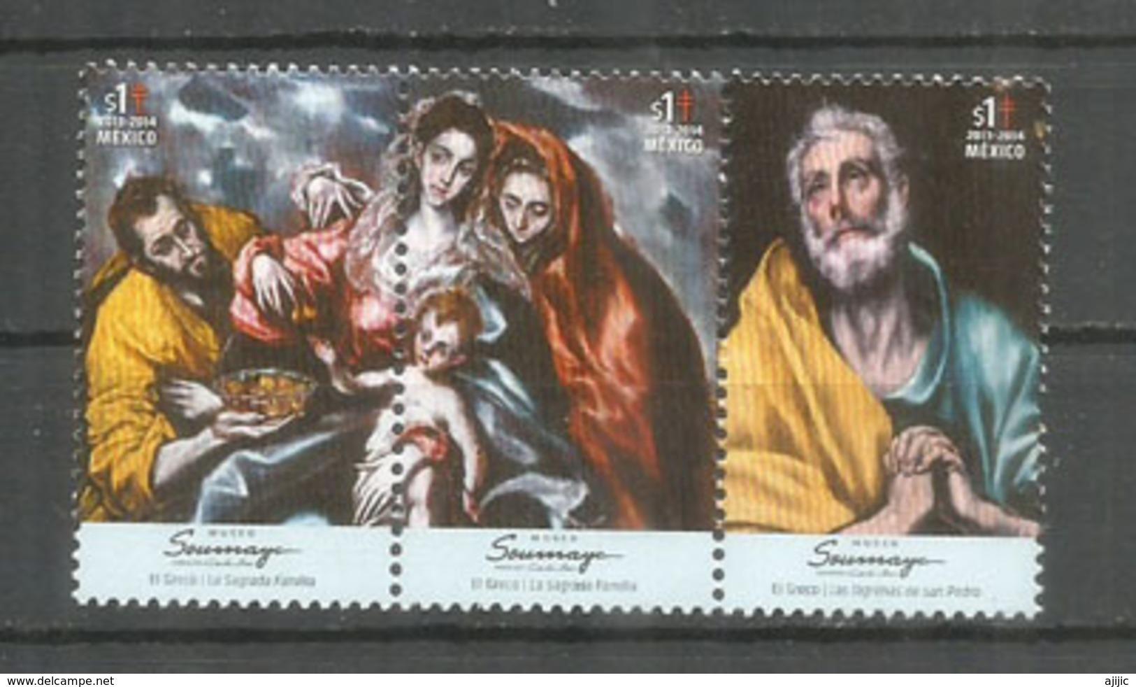 MEXIQUE. La Sainte Famille & Les Larmes De St Pierre. Tableaux De El Greco. 3 Timbres Neufs ** Se-tenant - Christianisme