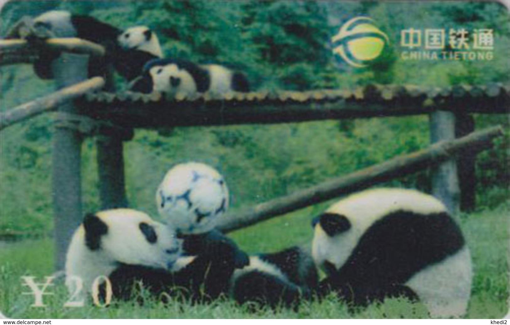 Télécarte De Chine - Animal - PANDA GEANT & Ballon De Football - China Tietong Phonecard - 453 - Chine