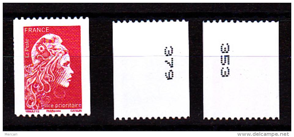 France 2018, Roulette Lettre Prioritaire / Les 2 Positions Des N° Au Verso (doite Et Gauche) / Marianne L'engagée - Unused Stamps