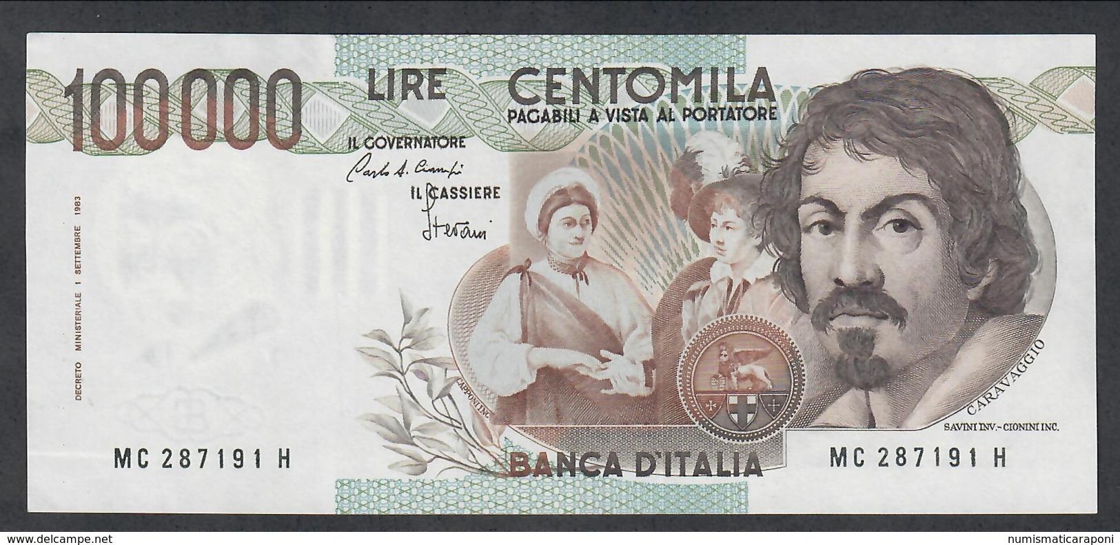 100000 Lire Caravaggio I° Tipo Serie C 1986 Sup Lotto.1954 - [ 2] 1946-… : Républic