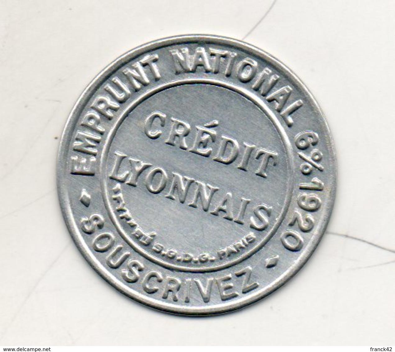 Timbre Monnaie. Crédit Lyonnais. Emprunt National 6% 1920 - Monétaires / De Nécessité