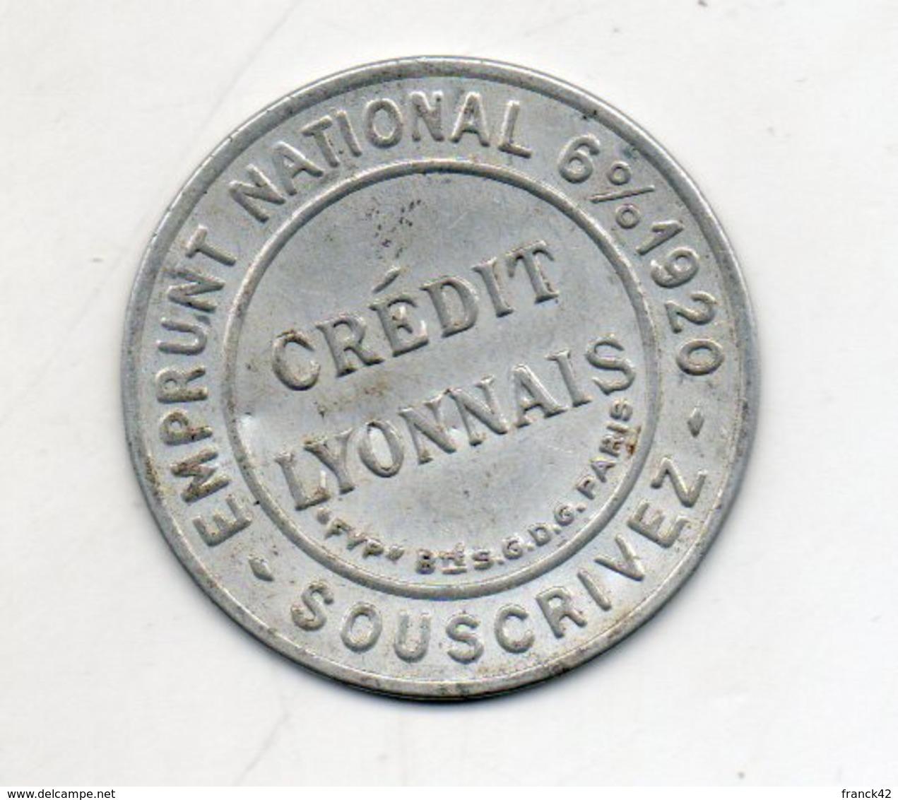 Timbre Monnaie. Crédit Lyonnais. Emprunt National 6% 1920. Fond Rouge. - Monétaires / De Nécessité