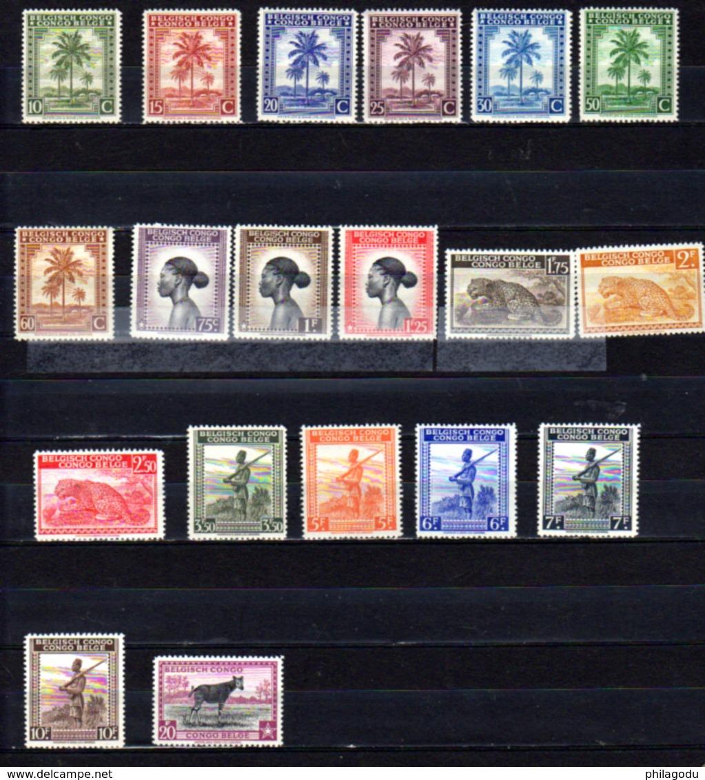 1942    Congo Belge, Palmiers, Indigènes Soldats, Animaux, 228 / 246** (série Courte Pas 247-248), Cote 27,50 €, - Belgisch-Kongo
