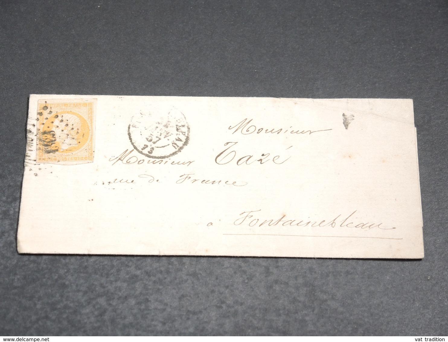 FRANCE - Lettre De Fontainebleau Pour Fontainebleau En 1857, Affranchissement Napoléon - L 20215 - Marcofilie (Brieven)
