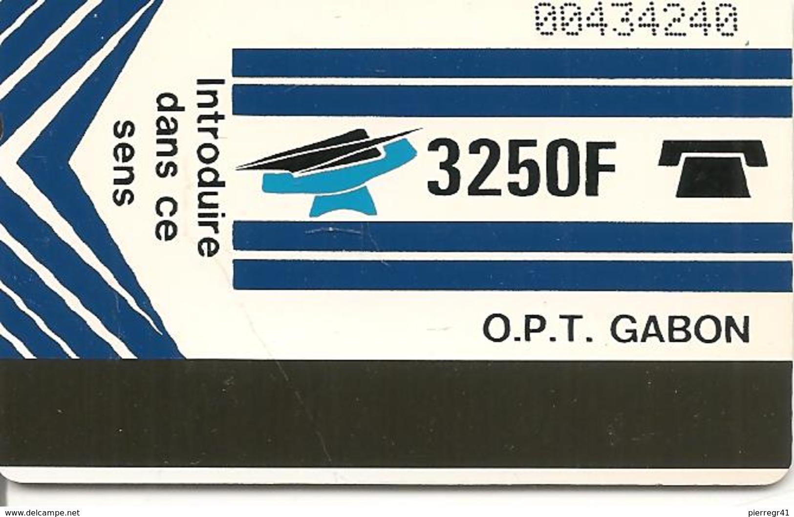 CARTE-GABON-MAGNETIQUE AUTELCA-3250F-BLEU-R°Ecriture +Fine V° BLANC-TBE - Gabon