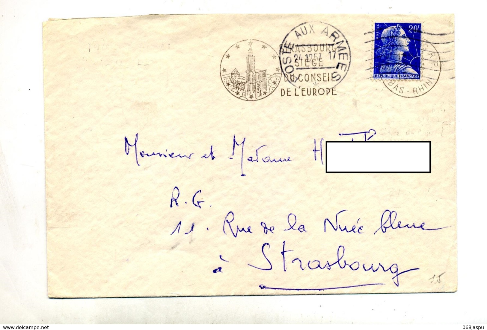 Lettre Flamme Muette Poste Aux Armees + Strasbourg Conseil Sur Muller - Storia Postale