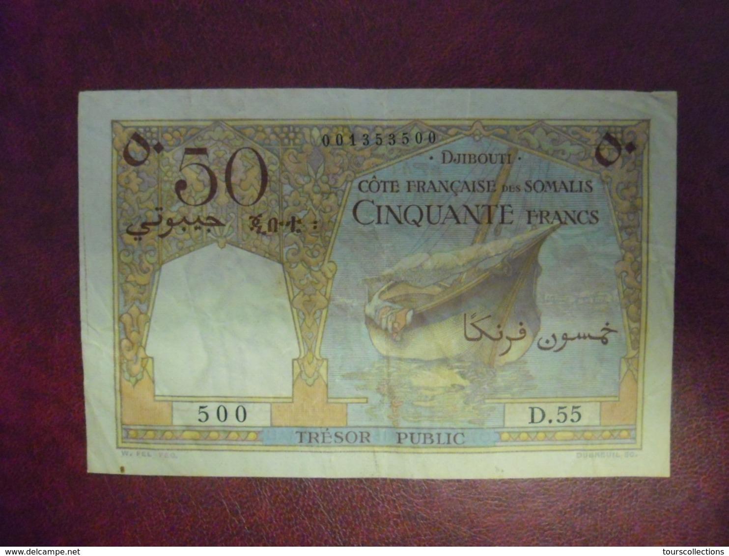 BILLET 50 FRANCS DJIBOUTI - COTE FRANCAISE DES SOMALIS De 1952 @ WPM PICK N° 25 - Djibouti