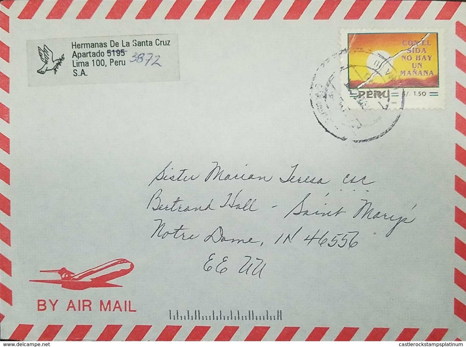 O) 1993 PERU, SIDA - PREVENTION OF AIDS - AIRMAIL TO USA - Peru