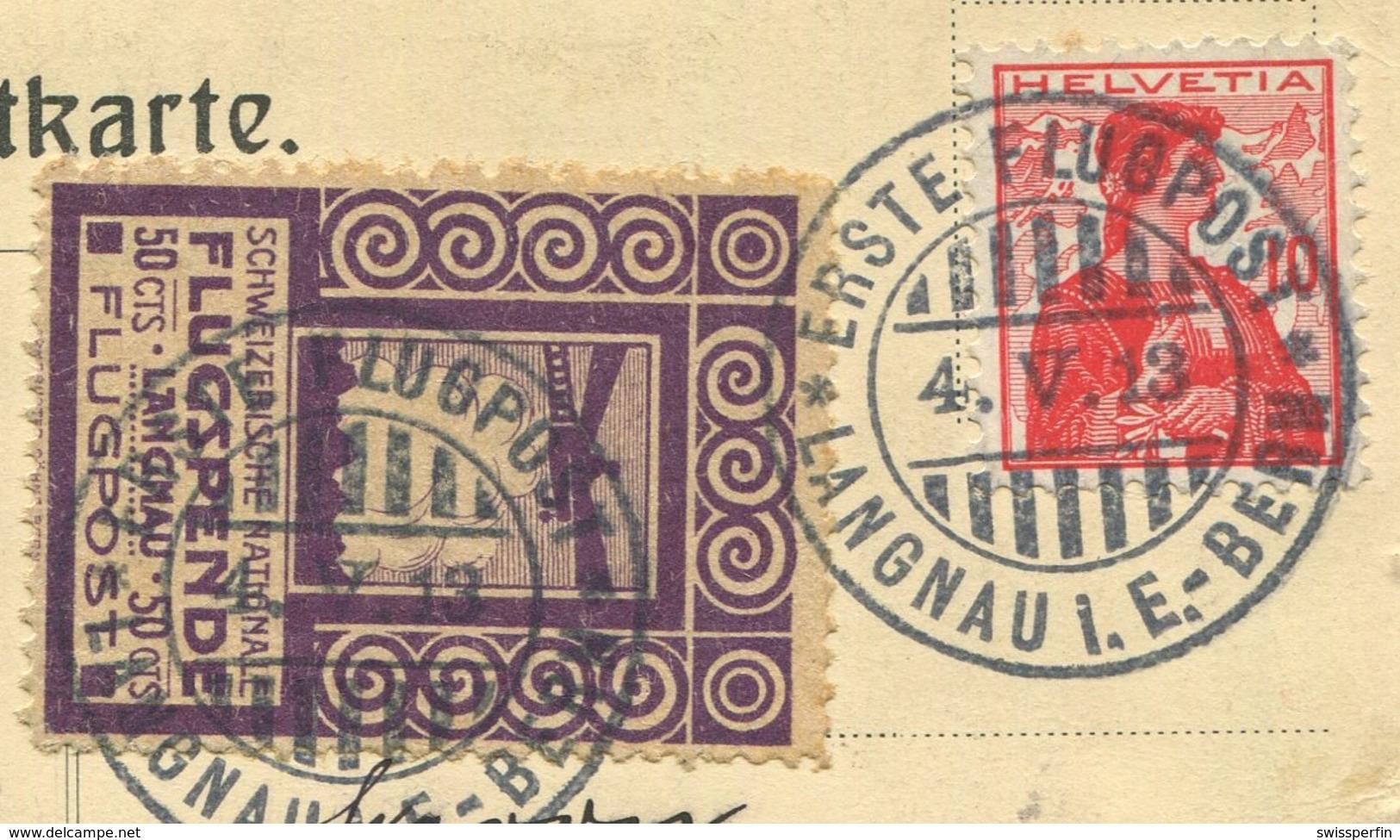1955 - Pionierflug - Vorläufer LANGNAU Am 4. Mai 1913 Auf Offizieller Postkarte Mit Zudruck Flugtag Langnau I.E. - Poste Aérienne