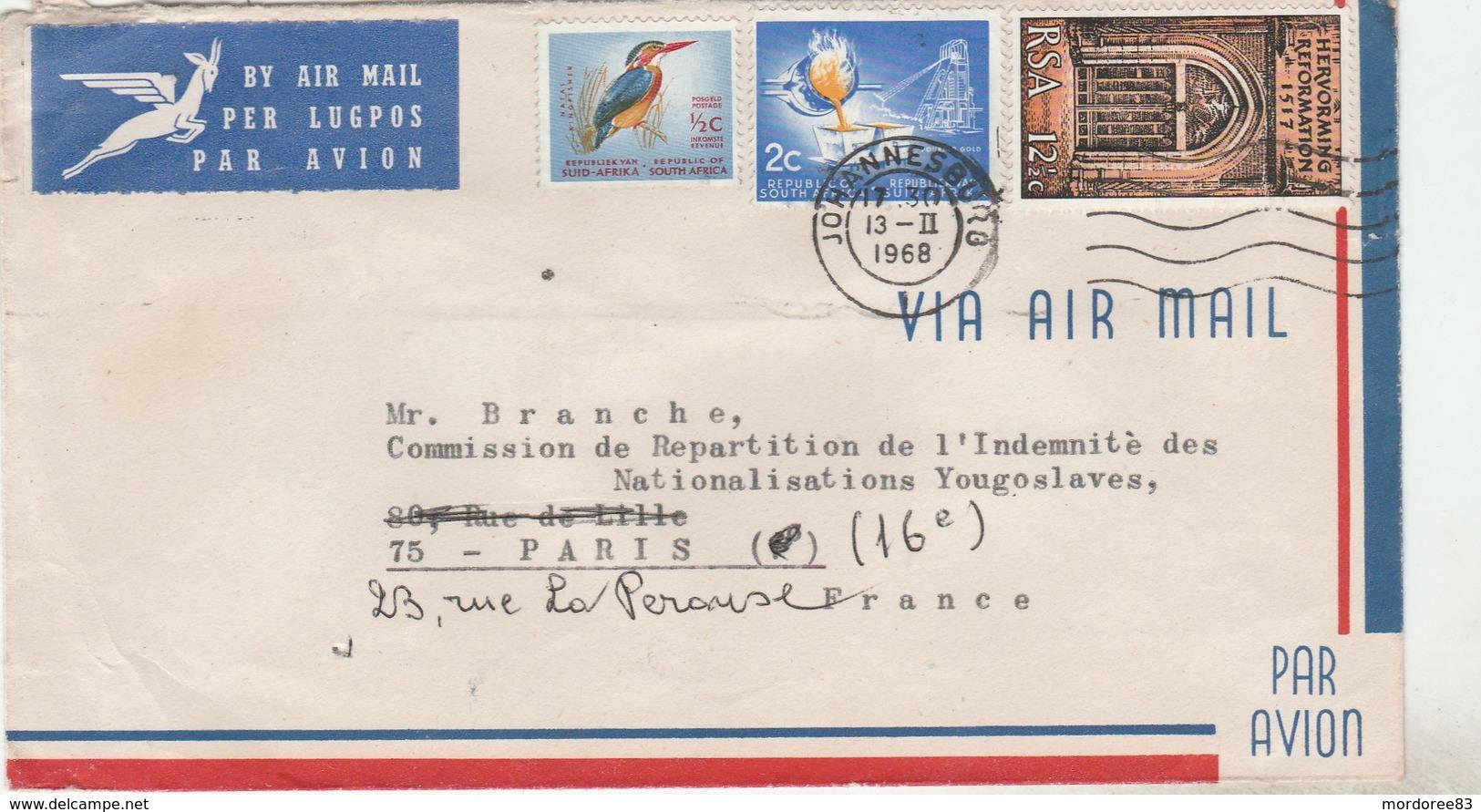 COVER JOHANNESBURG 13/2/68 POUR FRANCE PARIS -                                    TDA103A - Afrique Du Sud (1961-...)