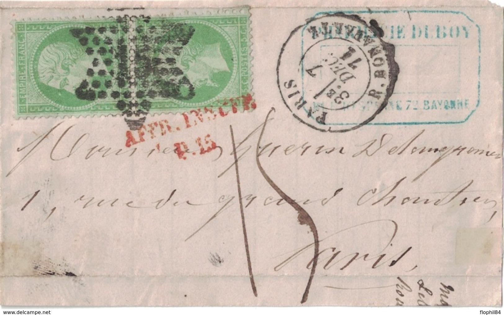 PARIS - R.BONAPARTE - LE 7 DECEMBRE 1871 - EMPIRE - N°20 EN PAIRE SUR DEVANT DE LETTRE TAXEE A 15 MANUSCRIT + AFFR.INSUF - Postmark Collection (Covers)