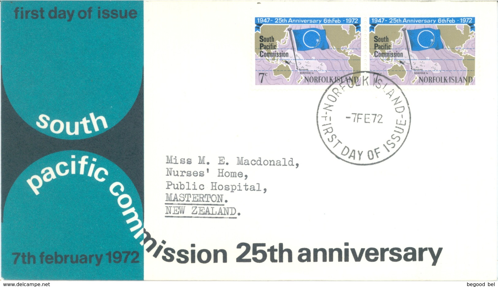 NORFOLK ISLAND - FDC - 7.2.1972 - SOUTH PACIFIC COMMISSION  - Yv 128 - Lot 17609 - Ile Norfolk