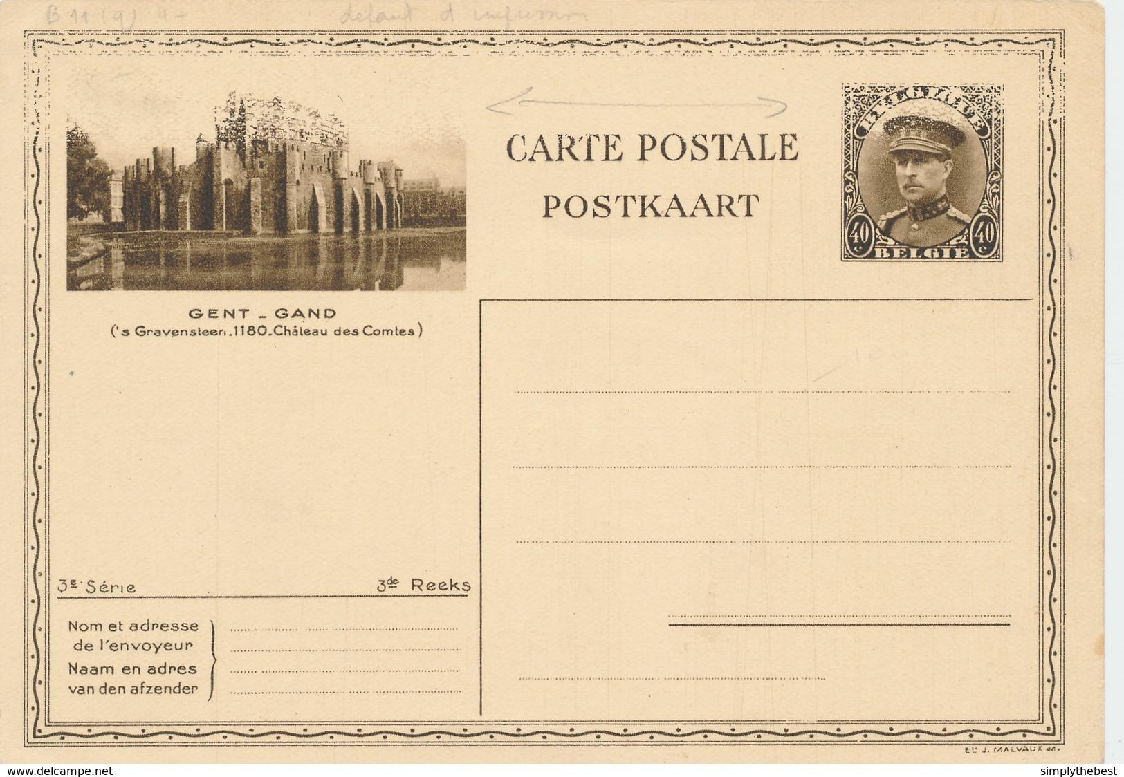 ZZ783 - Entier Illustré Képi 3è Série GAND Chateau Des Comtes - DEFAUT D' IMPRESSION  - Catalogue SBEP No 11 - NEUF - Illustrat. Cards