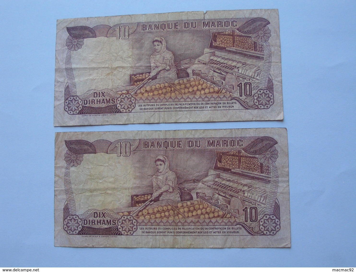 Lot De 2 Billets - 10 Dirhams 1970-1390 Maroc - Banque Du Maroc  **** EN ACHAT IMMEDIAT **** - Maroc