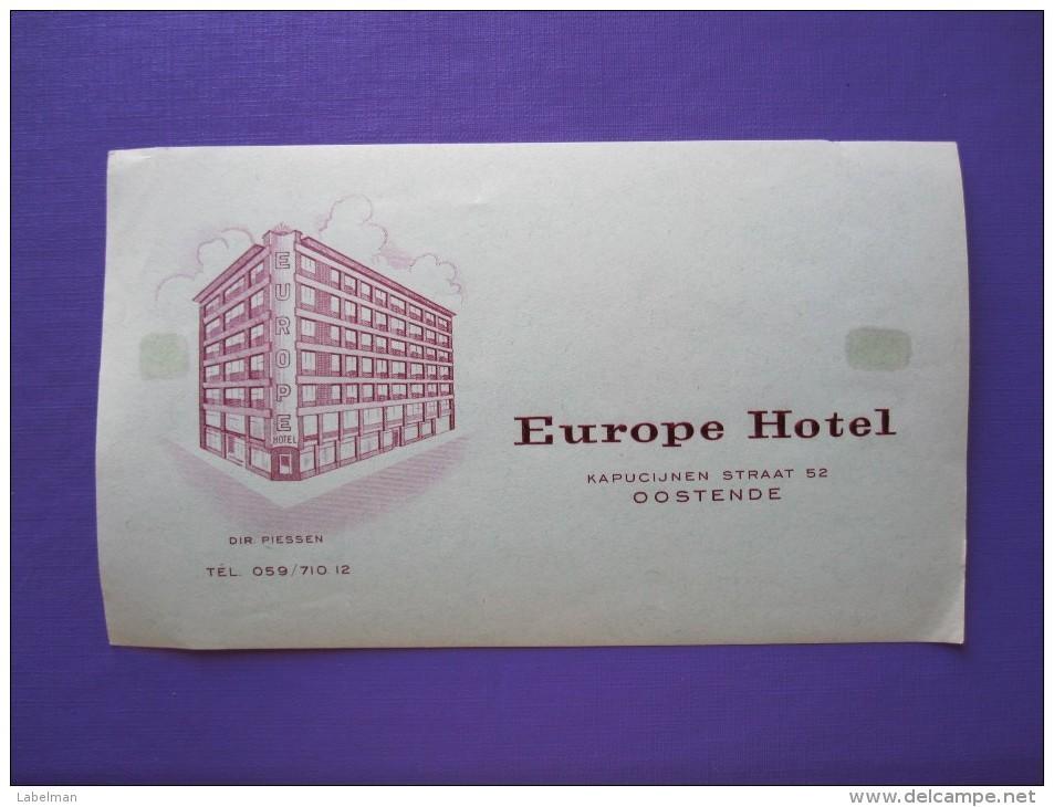 HOTEL MOTEL PENSION EUROPE OOSTENDE BRUXELLES BELGIE BELGIUM BELGIQUE DECAL STICKER LUGGAGE LABEL ETIQUETTE AUFKLEBER - Hotel Labels