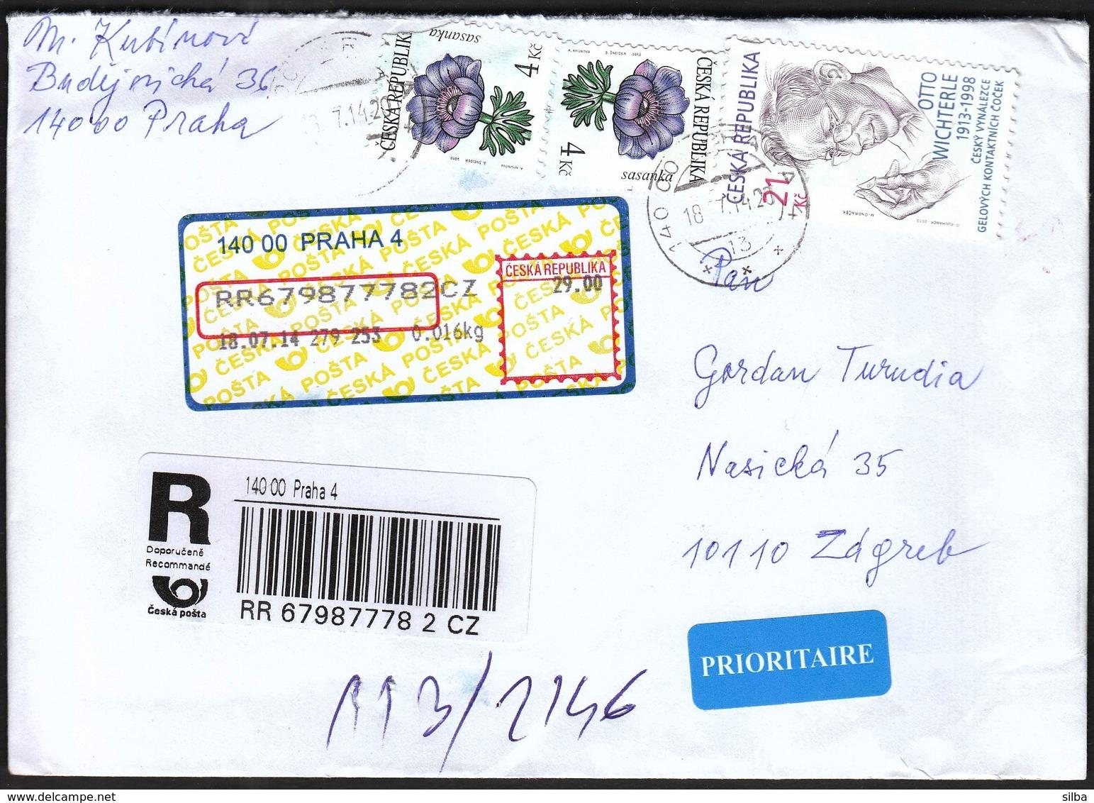 Czech Republic Prague 2014 / R Letter - Cover / Flowers, Otto Wichterle - Tchéquie