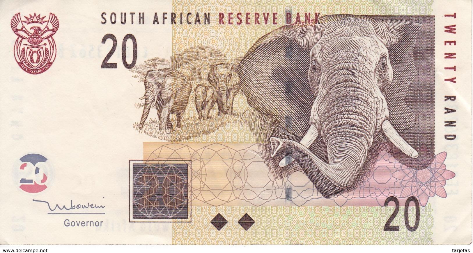BILLETE DE SURAFRICA DE 20 RAND DEL AÑO 2005 EN CALIDAD EBC (XF)    (BANKNOTE)  ELEFANTE-ELEPHANT - Suráfrica