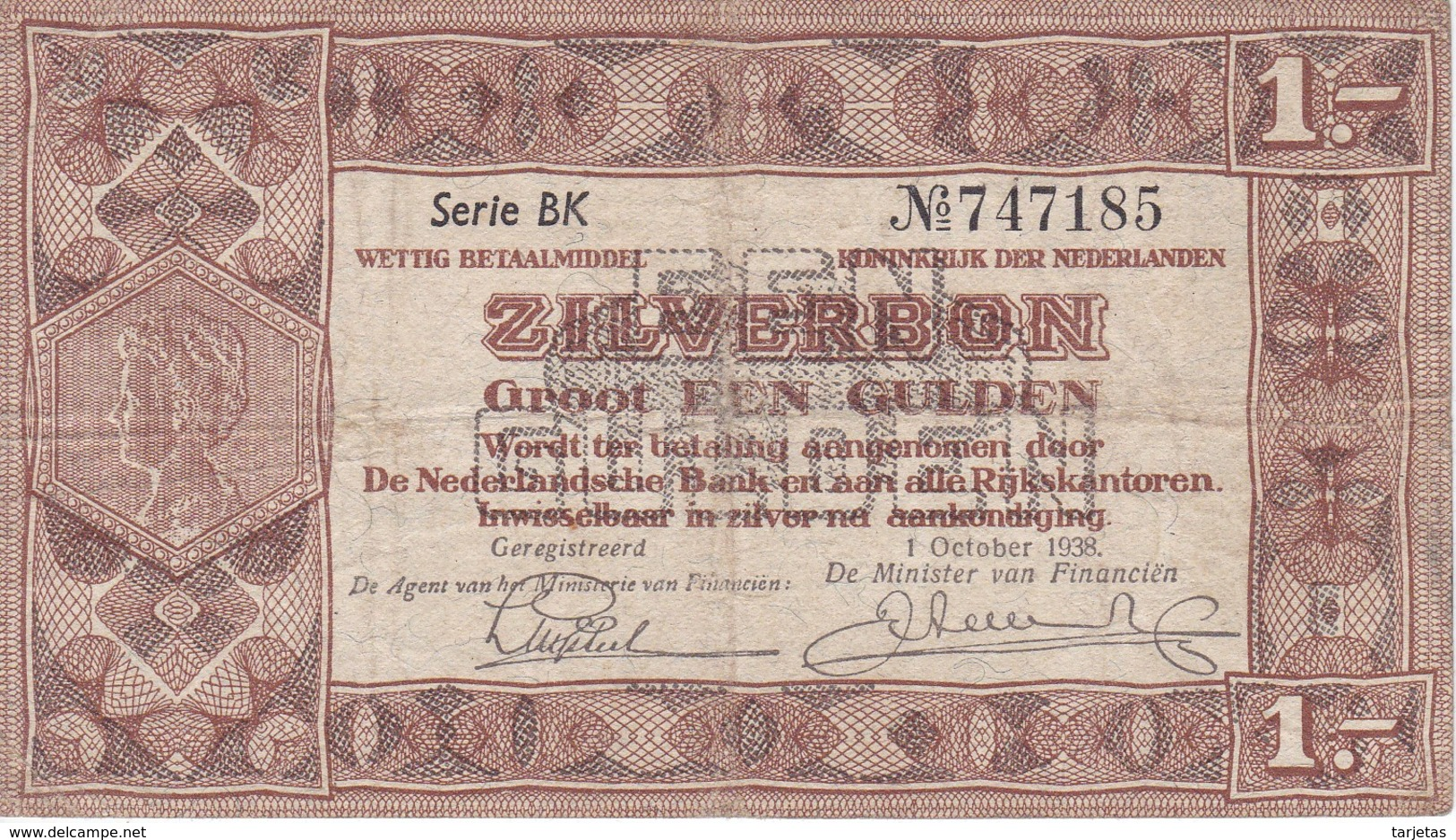 BILLETE DE HOLANDA DE 1 GULDEN DEL AÑO 1938  (BANKNOTE) - 1 Gulden