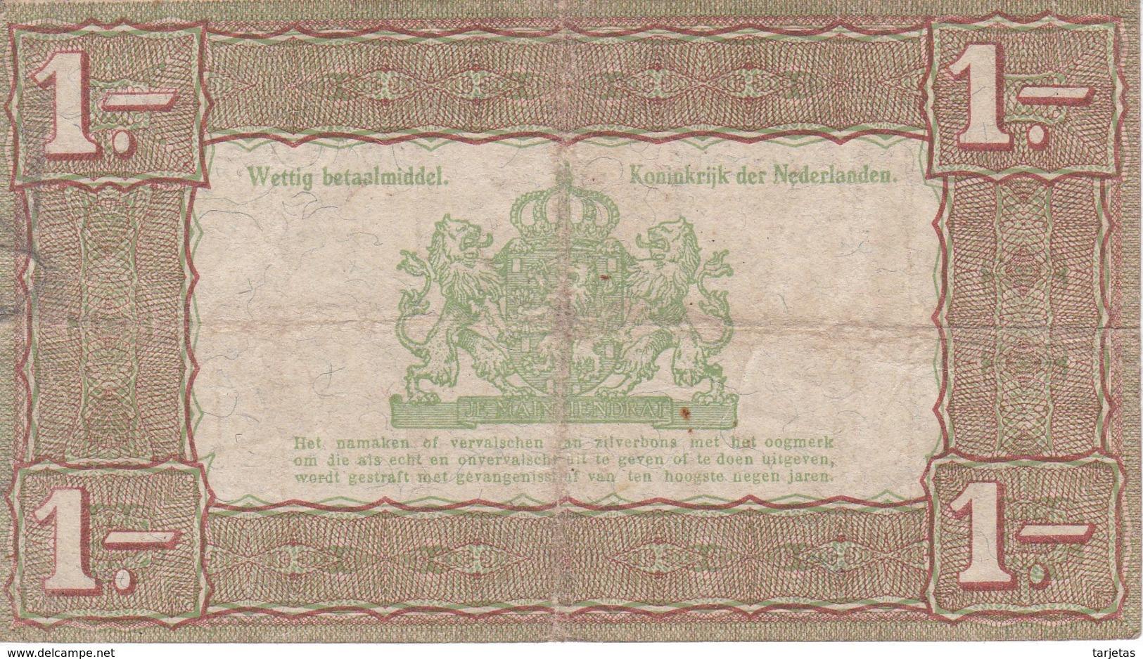 BILLETE DE HOLANDA DE 1 GULDEN DEL AÑO 1938  (BANKNOTE) - [2] 1815-… : Regno Dei Paesi Bassi
