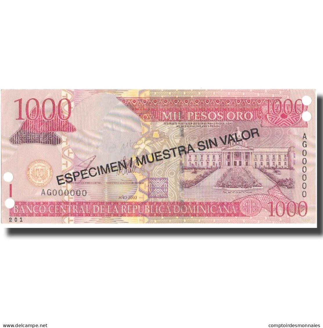 Billet, Dominican Republic, 1000 Pesos Oro, 2003, 2003, KM:173s2, NEUF - Dominicaine