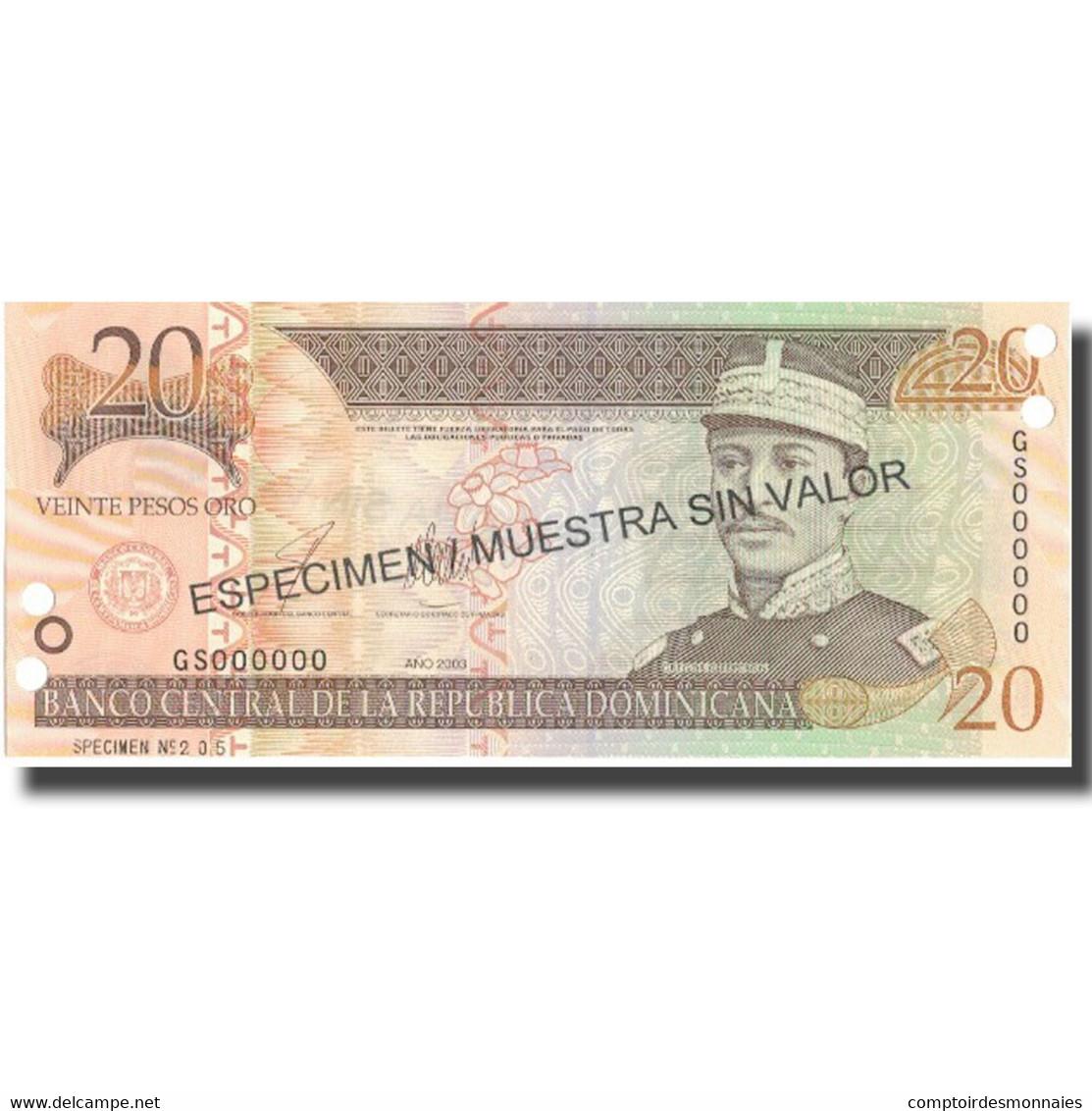 Billet, Dominican Republic, 20 Pesos Oro, 2003, 2003, Specimen, KM:169s3, NEUF - Dominicaine