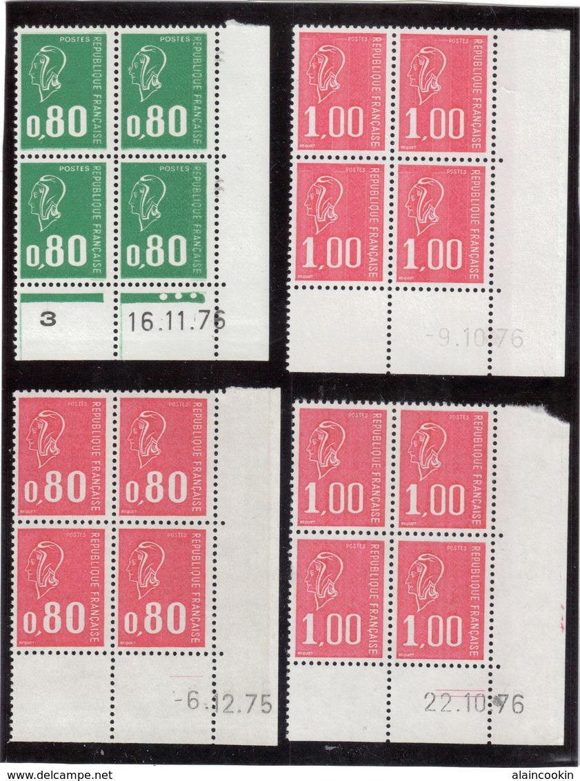 M11 - Marianne De Béquet 4 Blocs De 4 Datés - 1816** (16.11.76) - 1891** (6.2.75) - 1892** X 2 (9.10.76 Et 22.10.76) - 1970-1979