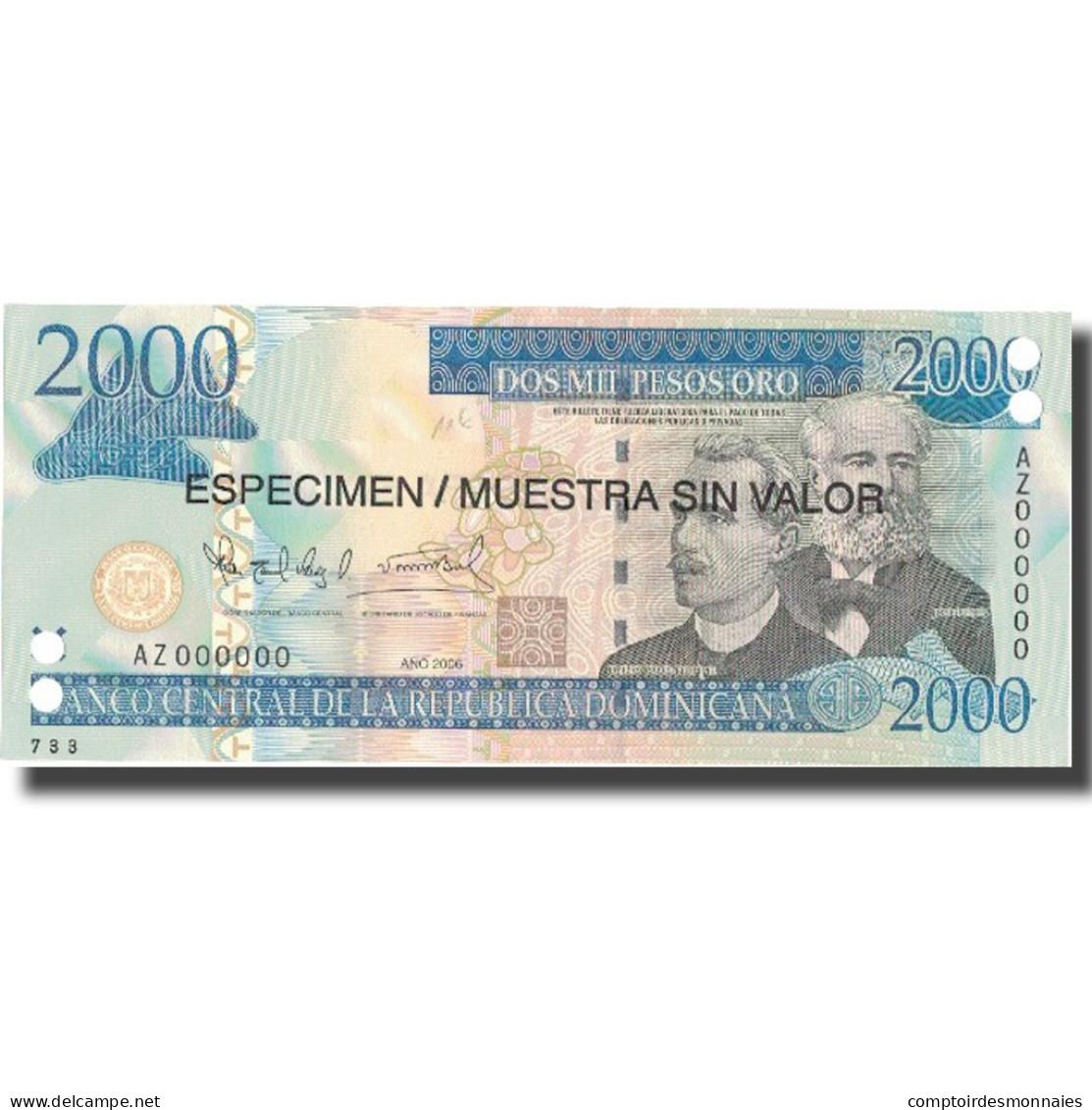 Billet, Dominican Republic, 2000 Pesos Oro, 2006, 2006, Specimen, KM:181s1, NEUF - Dominicaine