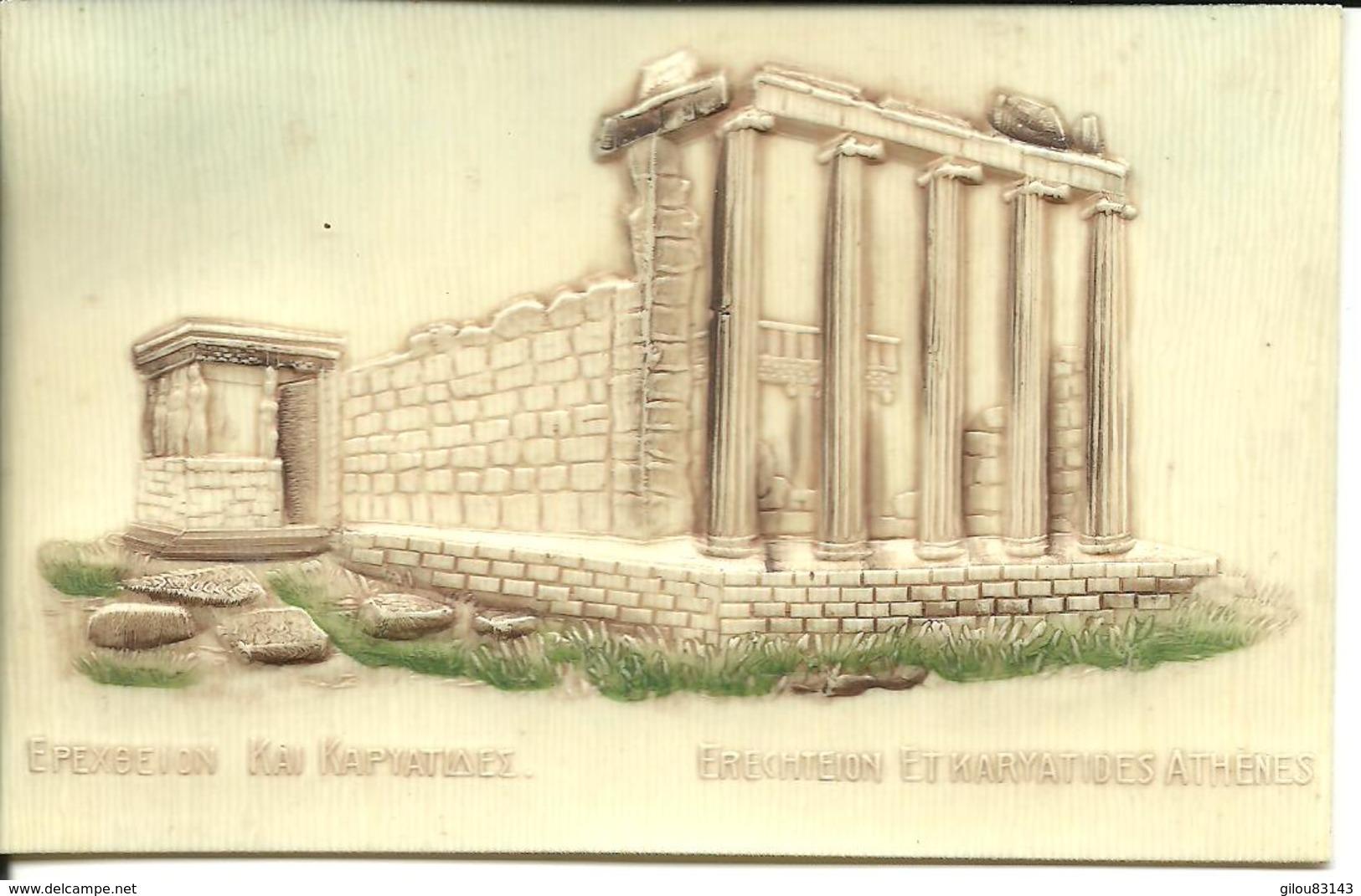 Grece, Athenes, Temple Erechteion Et Karyatides, Carte Celluloid      (bon Etat) - Grèce