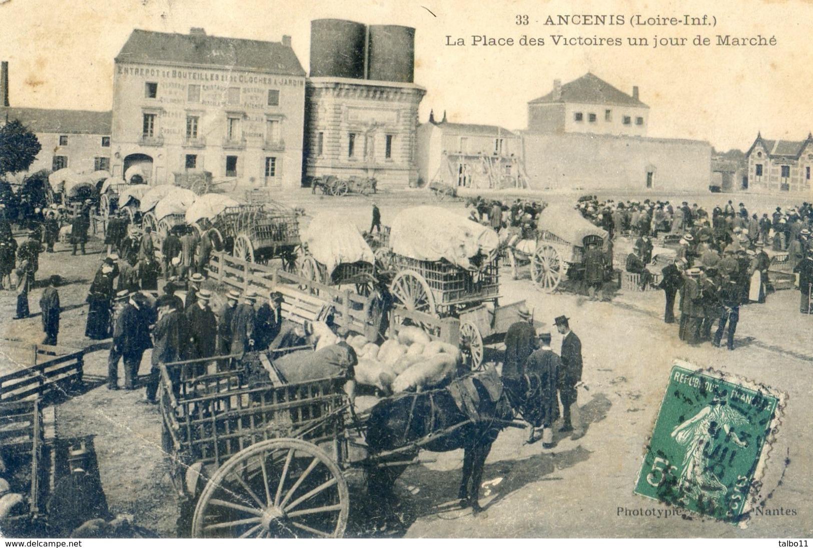 44 - Ancenis - Place De La Victoire Un Jour De Marché - Ancenis