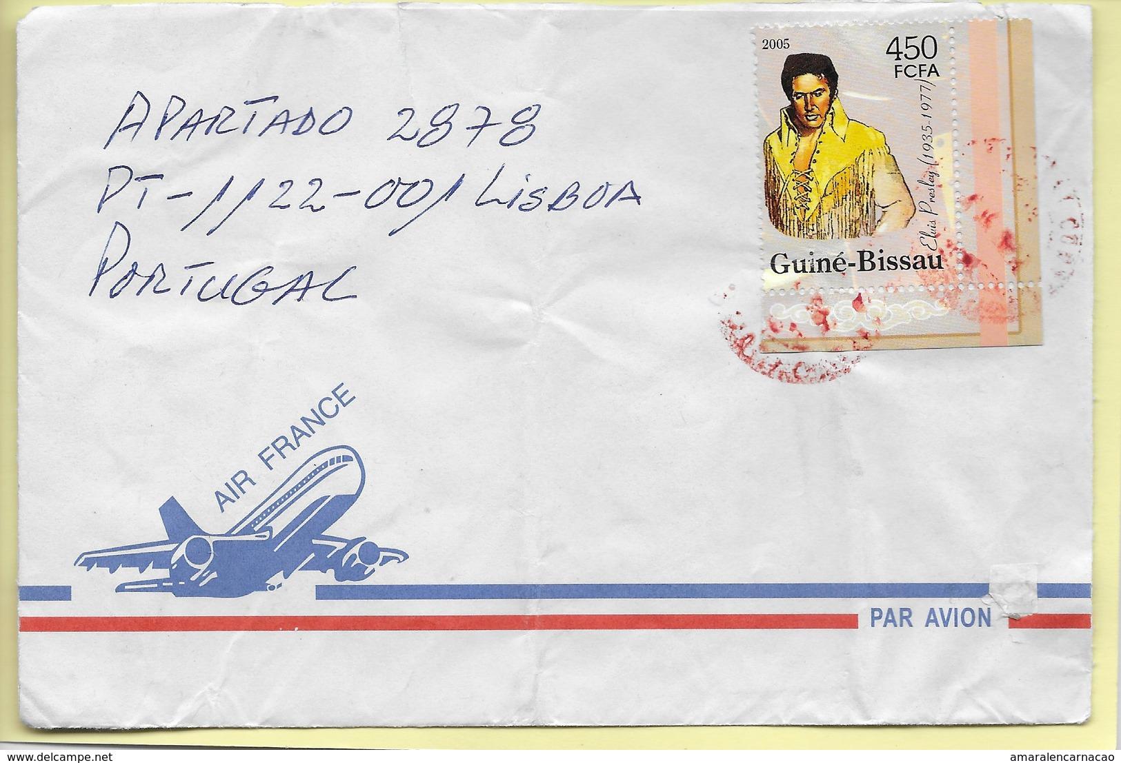 TIMBRES - STAMPS - LETTRE POUR PORTUGAL- GUINÉE-BISSAU / GUINEA-BISSAU - 2005 - CHANTEUR ELVIS PRESLEY - Elvis Presley