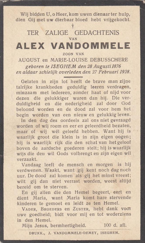 Vandommele Alex - Zoon Van August & Marie,Louise Debusschere ° Izegem 1876 + Aldaar 1928      Lot 548 - Images Religieuses