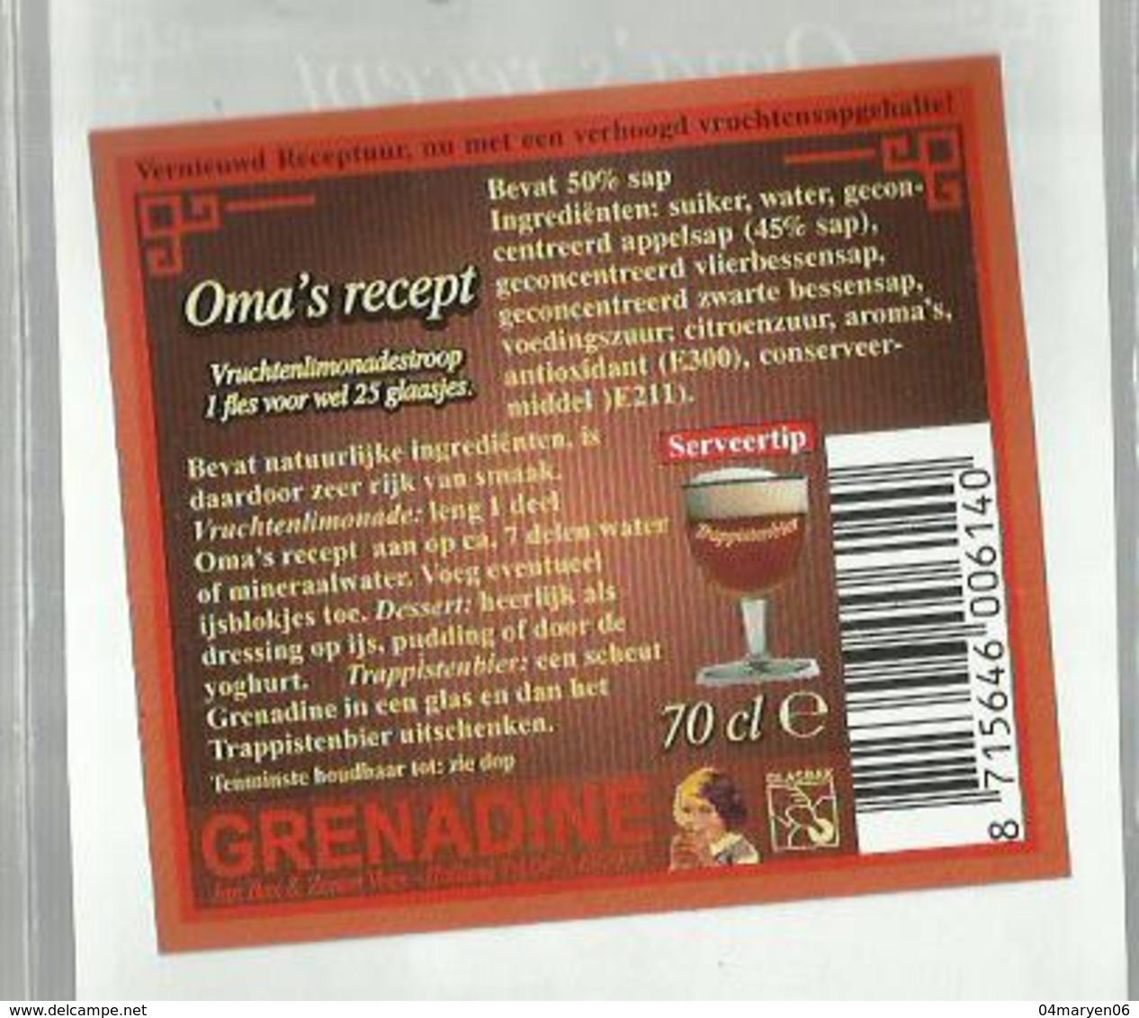 """- **2 X Etiket **-  """"""""  OMA'S  RECEPT     """"""""-Grenadine   - - Fruit En Groenten"""