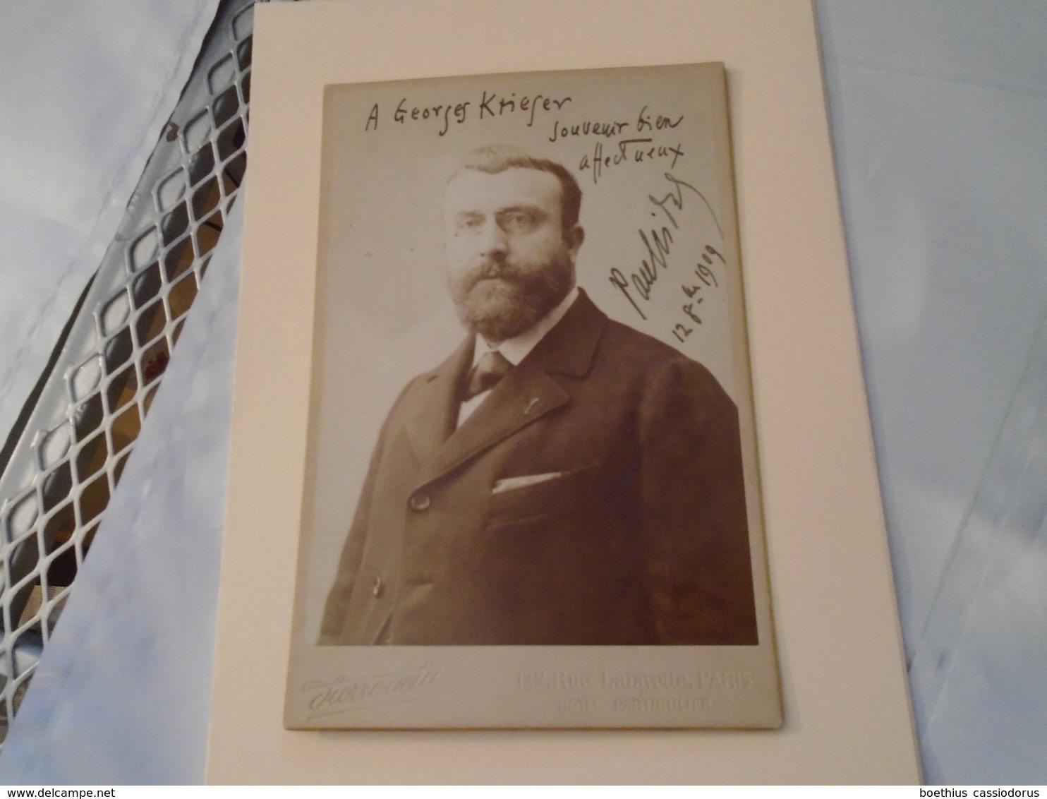PORTRAIT 11 X 16,5 Cm Dédicacé Du Compositeur Paul Vidal Au Compositeur Georges Krieger En 1909 Photographe Pierre Petit - Autogramme