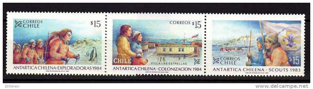 POLAIRE: CHILI 651/653 SCOUTS ANTARTICA CHILENA 1984 NEUFS** - Chili