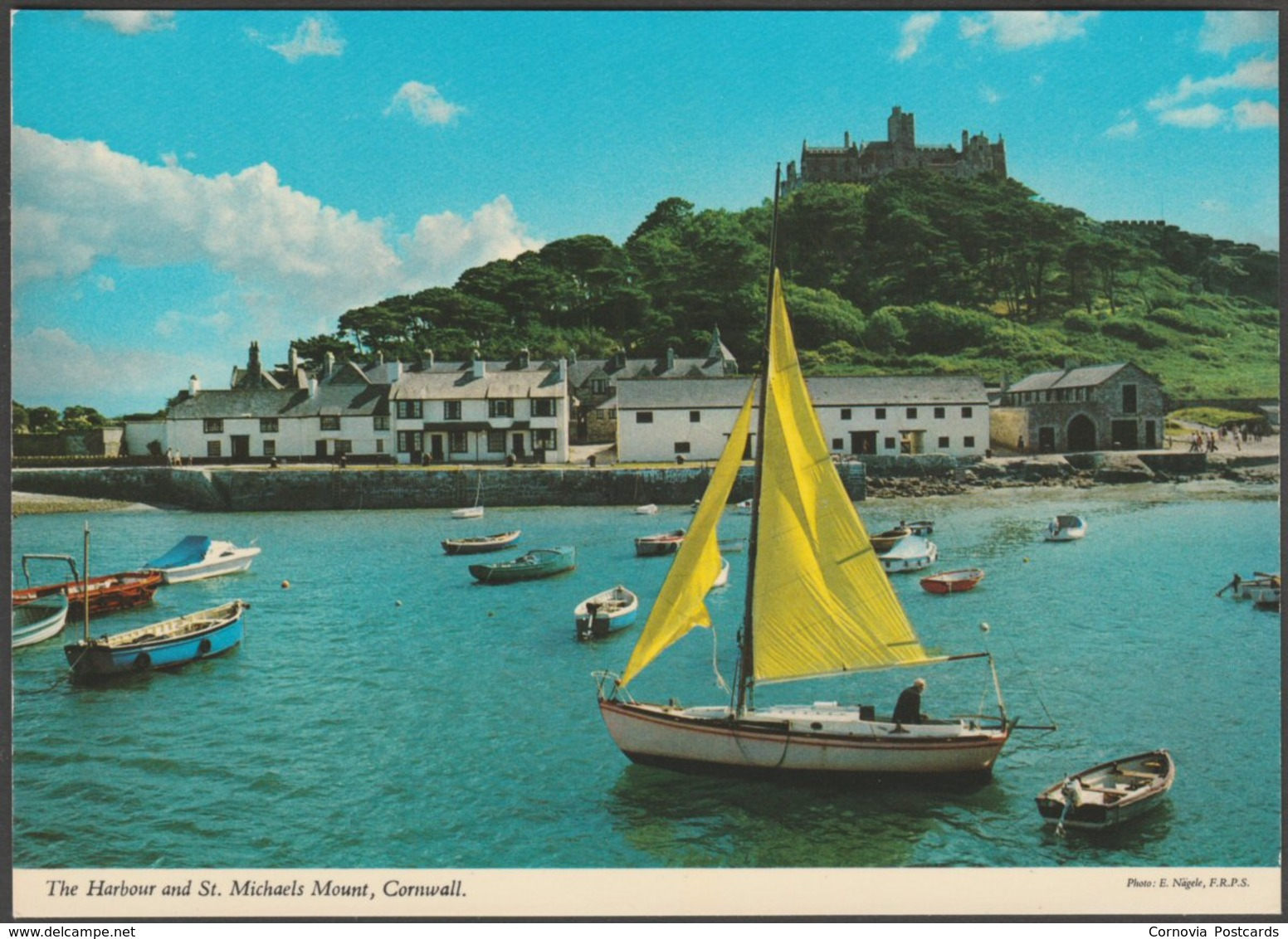 The Harbour And St Michael's Mount, Cornwall, C.1970s - John Hinde Postcard - St Michael's Mount